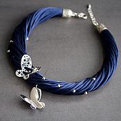колье из шелка Бабочки (в синем цвете)