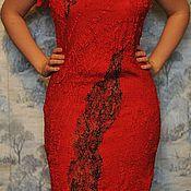 Одежда ручной работы. Ярмарка Мастеров - ручная работа Красное валяное платье. Handmade.