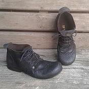 Обувь ручной работы. Ярмарка Мастеров - ручная работа Ботинки коричневые ЭСПРЕССО. Handmade.