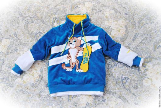 """Одежда для мальчиков, ручной работы. Ярмарка Мастеров - ручная работа. Купить Очень-очень теплый двусторонний  свитшот """"Лео""""-3. Handmade."""