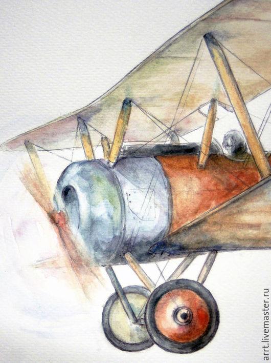 Детская ручной работы. Ярмарка Мастеров - ручная работа. Купить Аэроплан Картина для мальчика. Handmade. Разноцветный, винтажный самолет
