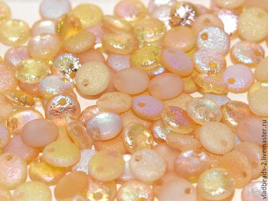 Для украшений ручной работы. Ярмарка Мастеров - ручная работа. Купить Бусины 6мм чешские стеклянные Lentils Crystal Yellow Rainbow. Handmade.