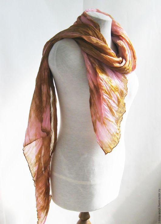 Шелковый палантин ручного крашения рыжий с розовым натуральный шелк