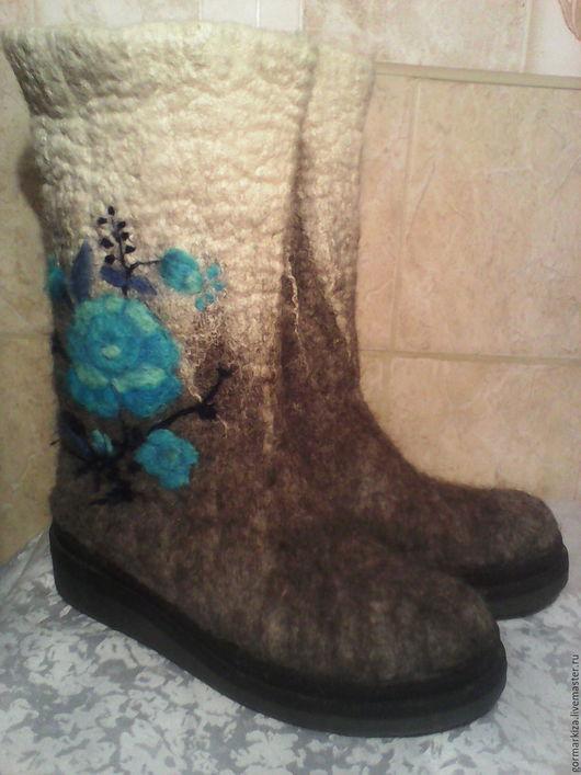 Обувь ручной работы. Ярмарка Мастеров - ручная работа. Купить Валенки. Handmade. Серый, обувь для улицы, шерсть 100%