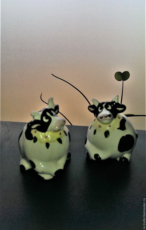 Винтажная посуда. Ярмарка Мастеров - ручная работа. Купить Винтаж: Солонка и перечница. Две задумчивые коровы. Handmade. Керамика, перечница
