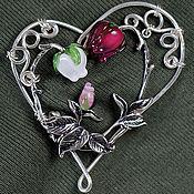 Украшения ручной работы. Ярмарка Мастеров - ручная работа Брошь Мечты сбываются - лэмпворк сердце любовь цветы ребенок wire wrap. Handmade.