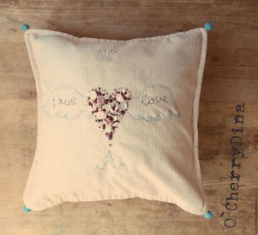 """Текстиль, ковры ручной работы. Ярмарка Мастеров - ручная работа. Купить Чехол для подушки """"Настоящая любовь"""". Handmade. Подушка, любовь"""