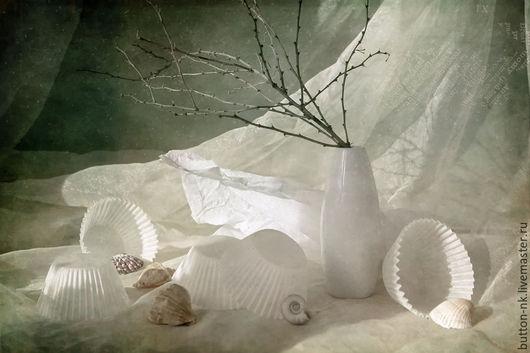 Фотокартины ручной работы. Ярмарка Мастеров - ручная работа. Купить Натюрморт Воспоминания о море. Handmade. Белый, ракушки, ветка, дизайн