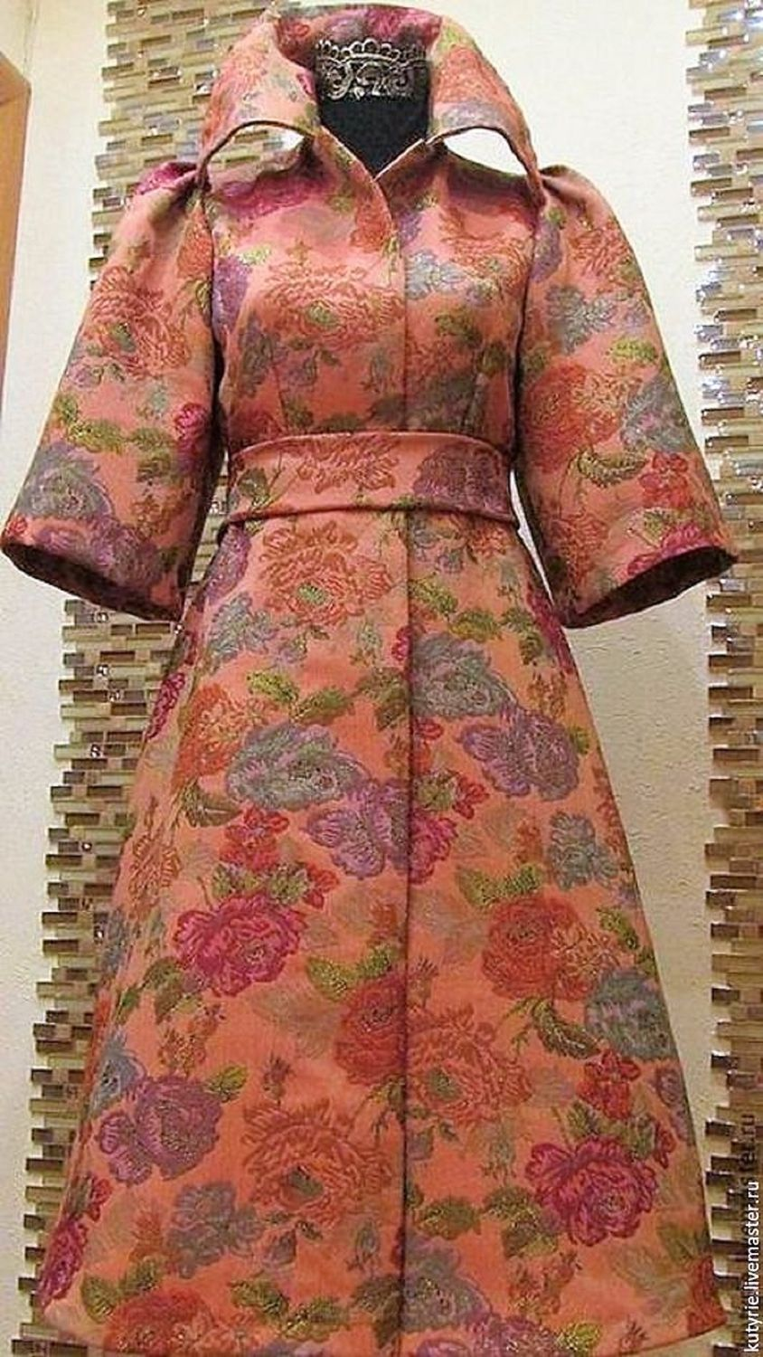 Author's jacquard coat 'Queen of roses', Coats, Moscow,  Фото №1