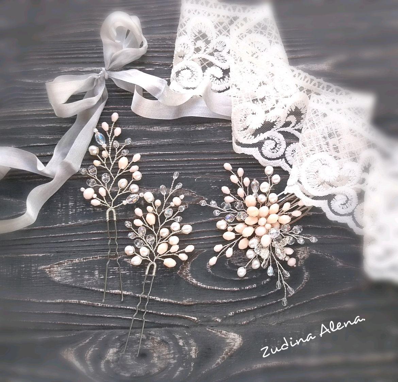 """Набор для прически """" Персиковый аромат"""", Свадебные украшения, Москва, Фото №1"""