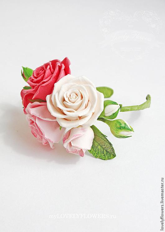 Свадебные украшения ручной работы. Ярмарка Мастеров - ручная работа. Купить Браслет с розами из полимерной глины. Handmade. Розовый