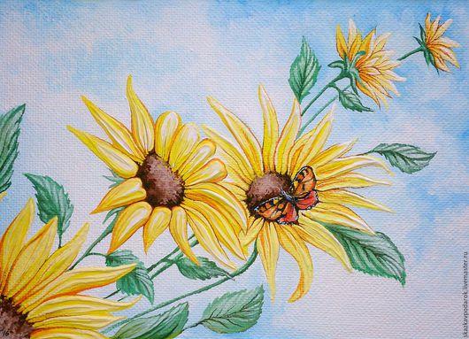 """Картины цветов ручной работы. Ярмарка Мастеров - ручная работа. Купить картина """"Цветы Солнца"""". Handmade. Картина, незабываемый подарок"""