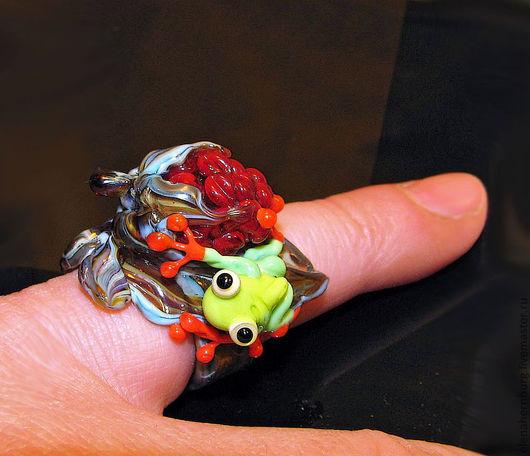 """Кольца ручной работы. Ярмарка Мастеров - ручная работа. Купить Кольцо """"Находка"""", лэмпворк. Handmade. Ярко-красный, кольцо, ягода"""