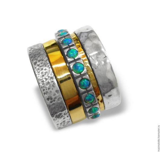 """Кольца ручной работы. Ярмарка Мастеров - ручная работа. Купить Кольцо """"Опалы голубые"""" из серебра и золота, широкое, массивное. Handmade."""
