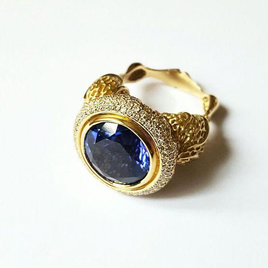 Кольца ручной работы. Ярмарка Мастеров - ручная работа. Купить Золотое кольцо танзанит бриллианты 750 пробы. Handmade. Синий