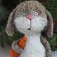 Игрушки животные, ручной работы. Ярмарка Мастеров - ручная работа. Купить Запасливый заяц Федор. Handmade. Серый, Сухое валяние