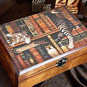 """Для дома и интерьера ручной работы. Ярмарка Мастеров - ручная работа Шкатулка """"Кот книголюб"""", шкатулка для украшений, подарок женщине. Handmade."""