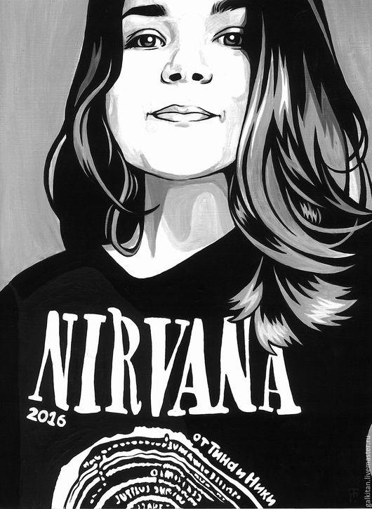 Портрет в стиле поп-арт. 30х40 см. Акрил, бумага