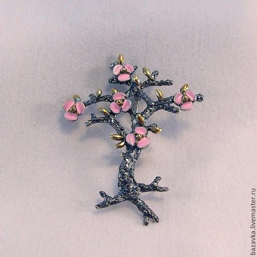 """Броши ручной работы. Ярмарка Мастеров - ручная работа. Купить Серебряная брошь с эмалью """" Цветущее деревце """". Handmade."""