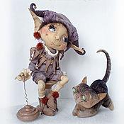 Куклы и игрушки ручной работы. Ярмарка Мастеров - ручная работа Домашний эльфик Жан-Люк и кот Леон. Handmade.