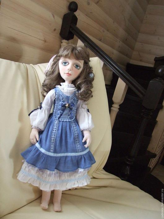 Коллекционные куклы ручной работы. Ярмарка Мастеров - ручная работа. Купить Барышня в голубом. Handmade. Интерьерная кукла, подарок женщине