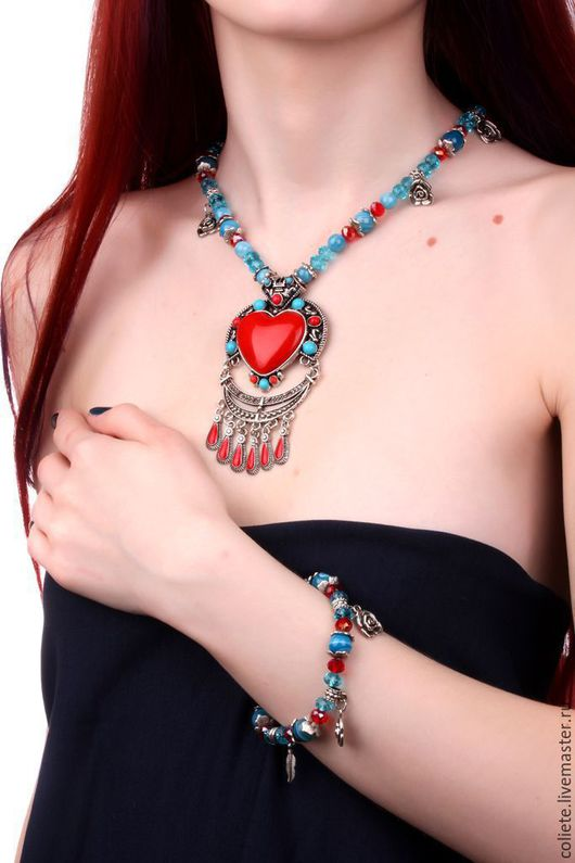 """Колье, бусы ручной работы. Ярмарка Мастеров - ручная работа. Купить Ожерелье с натуральными камнями """" Любовь в сердце!"""". Handmade."""