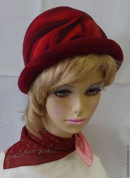 """Шляпы ручной работы. Ярмарка Мастеров - ручная работа. Купить Шляпка """"Красное вино"""".. Handmade. Бордовый, шерсть 100%"""