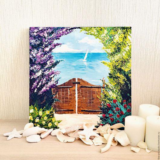 Пейзаж ручной работы. Ярмарка Мастеров - ручная работа. Купить Морской пейзаж, масло, холст. Handmade. Бирюзовый, море картина