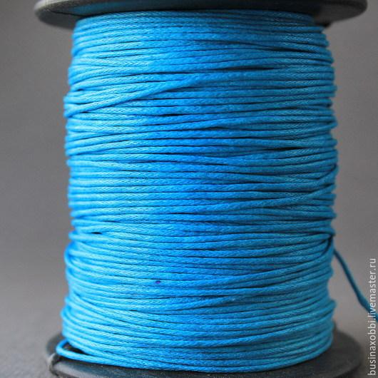 Шнур вощеный хлопок темно- бирюзовый на катушке Шнур плетеный из хлопка синий цвета  с восковой пропиткой диаметром 1 мм и длиной 10 метров для сборки украшений
