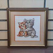 """Картины ручной работы. Ярмарка Мастеров - ручная работа Картина """"Влюбленные котята"""". Handmade."""
