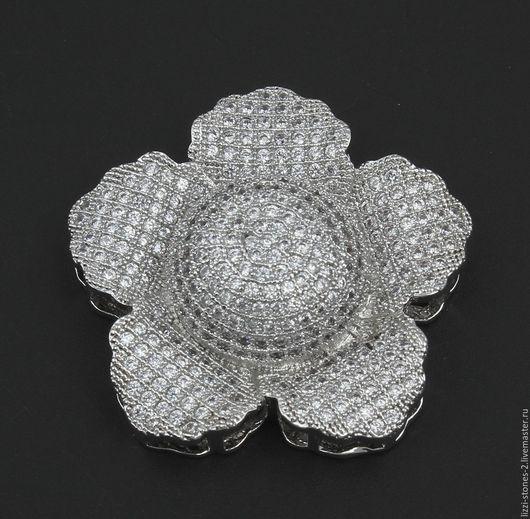 Коннектор Цветочек крупный серебро (Milano) Евгения (Lizzi-stones-2)
