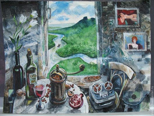 Натюрморт ручной работы. Ярмарка Мастеров - ручная работа. Купить Вверх по Ориноко. Handmade. Авторская работа, река, ирисы, вино