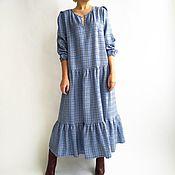 Одежда ручной работы. Ярмарка Мастеров - ручная работа Платье осень-зима клетка голубая. Handmade.