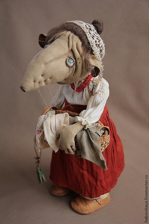 Коллекционные куклы ручной работы. Ярмарка Мастеров - ручная работа. Купить Крыса Матильда текстильная каркасная. Handmade. Хаберская татьяна