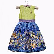 Нарядное платье для девочки с феями на синем фоне,с салатовой кокеткой