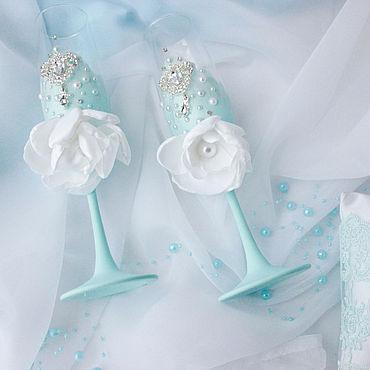 Свадебный салон ручной работы. Ярмарка Мастеров - ручная работа Бокалы свадебные в голубом цвете. Handmade.