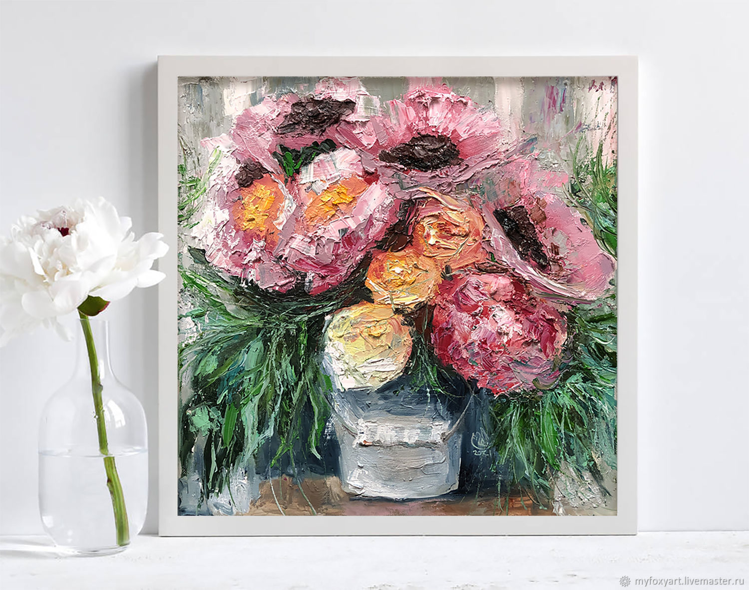A bouquet of peonies in a vase, a painting in the impasto technique in the bedroom, Pictures, St. Petersburg,  Фото №1