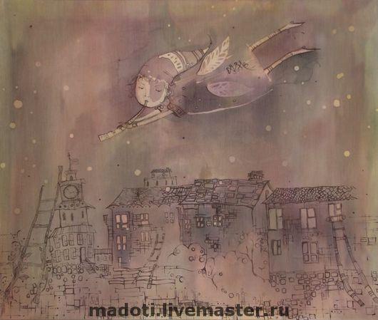 Символизм ручной работы. Ярмарка Мастеров - ручная работа. Купить Сказки на ночь. Handmade. Сказки на ночь, город, горячий батик