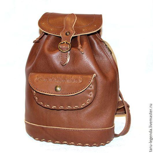 Рюкзаки ручной работы. Ярмарка Мастеров - ручная работа. Купить Рюкзак кожаный светло-коричневый. Handmade. Рюкзак кожаный