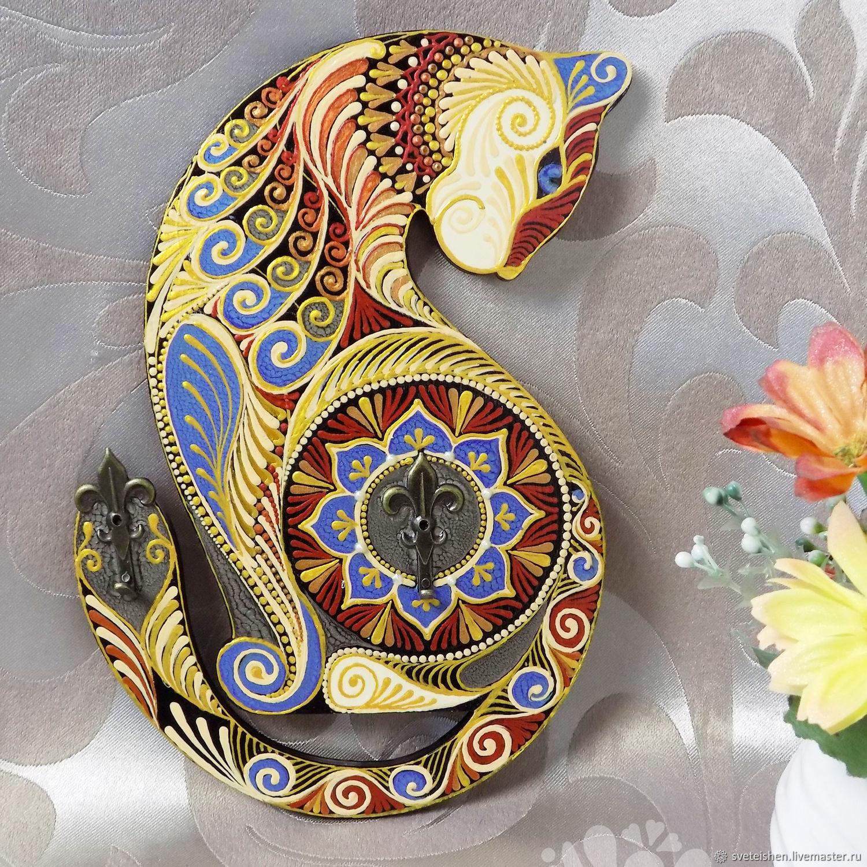 Ключница вешалка для ключей кошка роспись, Ключницы, Курган,  Фото №1