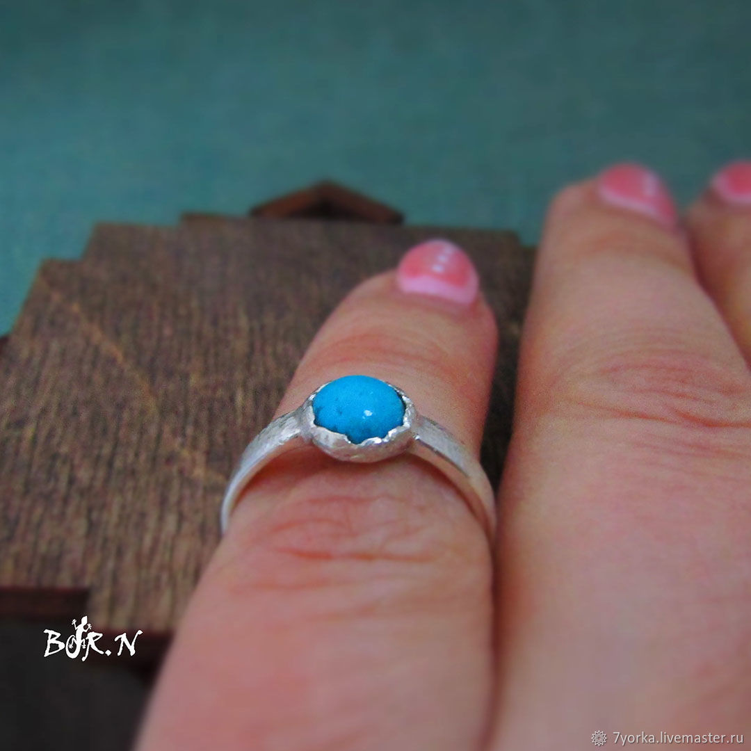 Silver ring with turquoise, Ring, St. Petersburg,  Фото №1