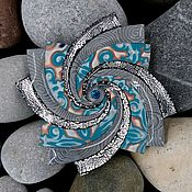 Украшения handmade. Livemaster - original item Brooch made of polymer clay Spiral star. Blizzard. Handmade.