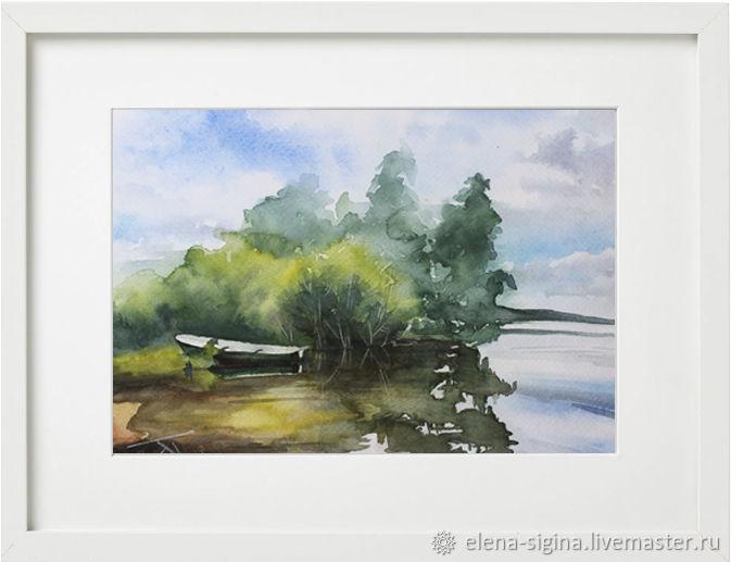картина акварелью Лодка, Картины, Москва,  Фото №1