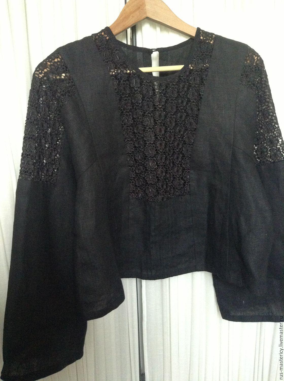 80a2ca1c3bc ручной работы. Ярмарка Мастеров - ручная работа. Купить Блуза из 100% льна  Черный ...