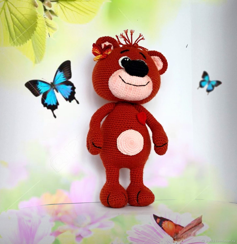Мишка Валентинчик вязаный Медвежонок медведь вязаный Мишутка Мишка, Мягкие игрушки, Санкт-Петербург,  Фото №1