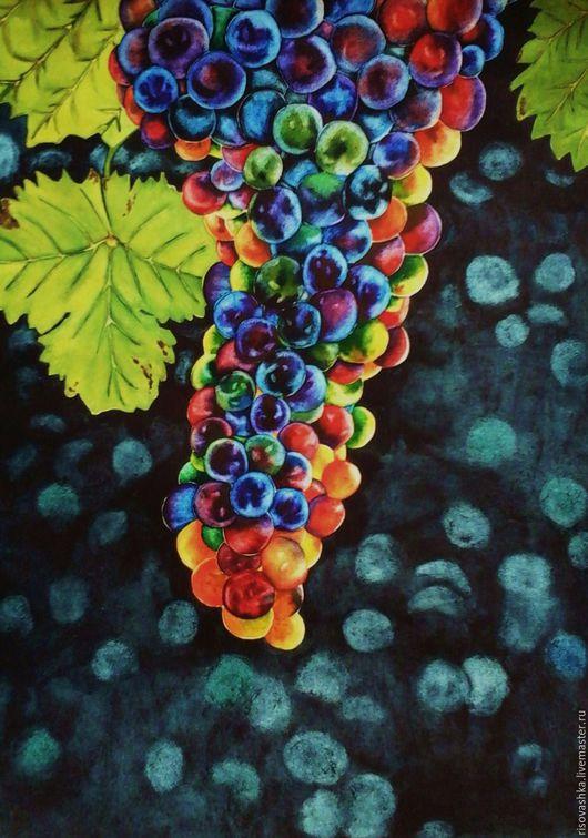 Пейзаж ручной работы. Ярмарка Мастеров - ручная работа. Купить Виноград. Handmade. Комбинированный, красочный, виноградная гроздь, виноградник, урожай