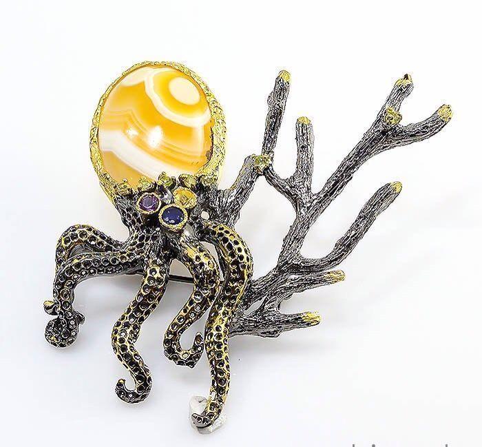 Осьминожка с желтым агатом большая брошь серебро 925, Броши, Москва, Фото №1
