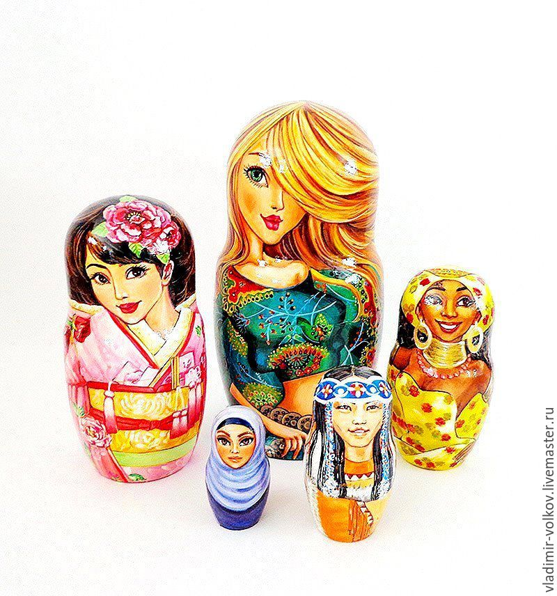 Women of the World matryoshka nesting wooden dolls, Dolls1, Ryazan,  Фото №1