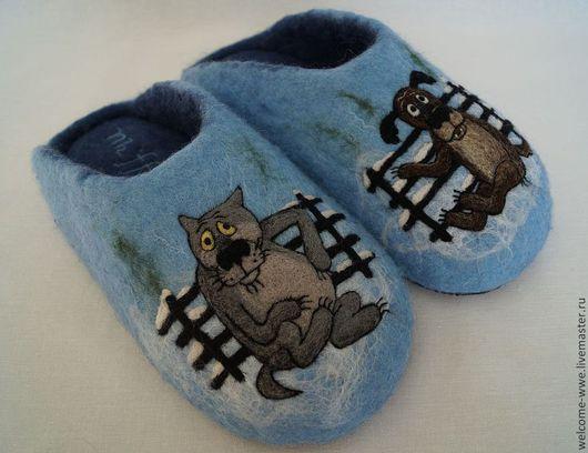 Обувь ручной работы. Ярмарка Мастеров - ручная работа. Купить Тапочки «Жил был пес». Handmade. Синий, подарок