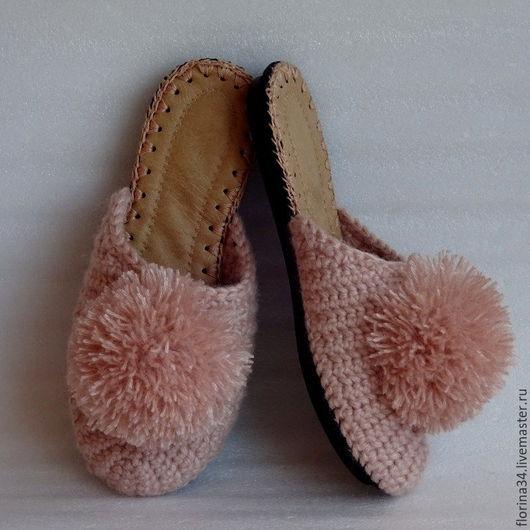 Обувь ручной работы. Ярмарка Мастеров - ручная работа. Купить Тапочки-шлепки на подошве Розовый гипноз. Handmade. Тапочки, подарок